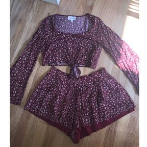 Maroon two piece matching set